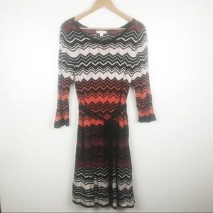 CB Established 1962 Crochet Chevron Belted Dress